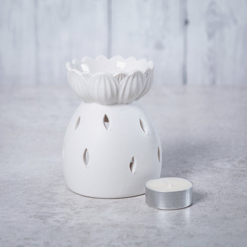 Lotus Flower Ceramic Oil Burner (White) - Oil Burner - Altruis Living
