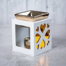 Load image into Gallery viewer, Wood & Ceramic Oil Burner Heart Fretwork (White) - Oil Burner - Altruis Living