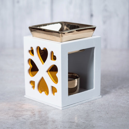Wood & Ceramic Oil Burner Heart Fretwork (White) - Oil Burner - Altruis Living
