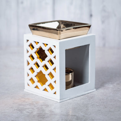 Wood & Ceramic Oil Burner Diamond Fretwork (White) - Oil Burner - Rituals Home
