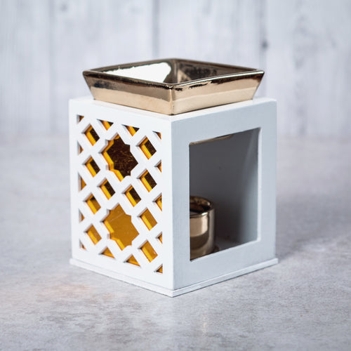 Wood & Ceramic Oil Burner Diamond Fretwork (White) - Oil Burner - Altruis Living