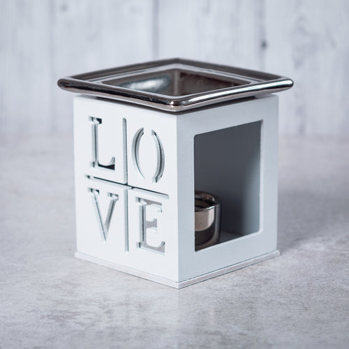 Wood & Ceramic Oil Burner Love Fretwork (White) - Oil Burner - Altruis Living