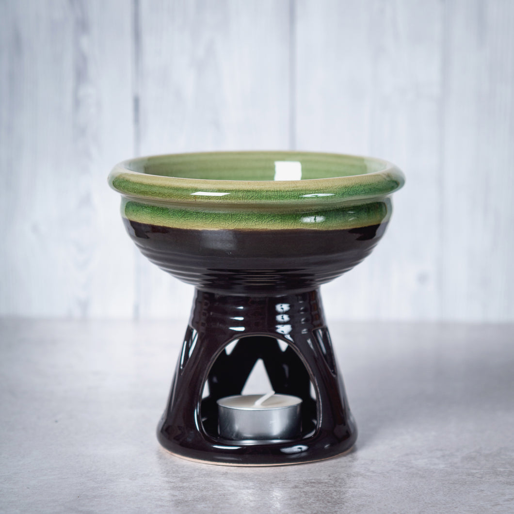 Temple Deep Bowl Ceramic Oil Burner / Wax Wamer (Green) - Oil Burner - Rituals Home
