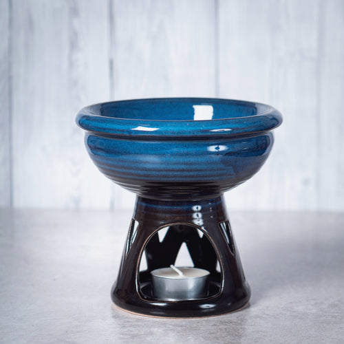 Temple Deep Bowl Ceramic Oil Burner & Wax Wamer (Blue) - Oil Burner - Altruis Living