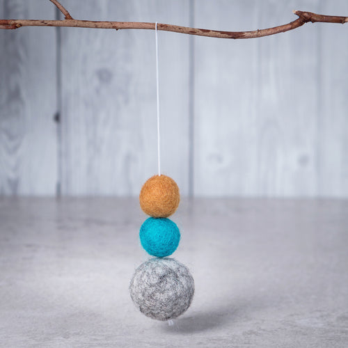 Felt Ball Aromatherapy Car Diffuser Grey, Teal & Mustard - Home & Car Diffuser / Freshner - Rituals Home