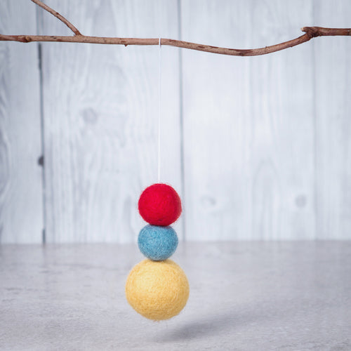 Felt Ball Aromatherapy Diffuser Red, Yellow & Blue - Home & Car Diffuser / Freshner - Altruis Living