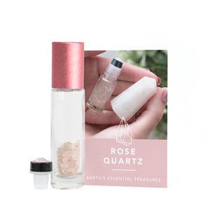 Rose Quartz Gemstone Essential Oil Roller Ball Bottle - Love