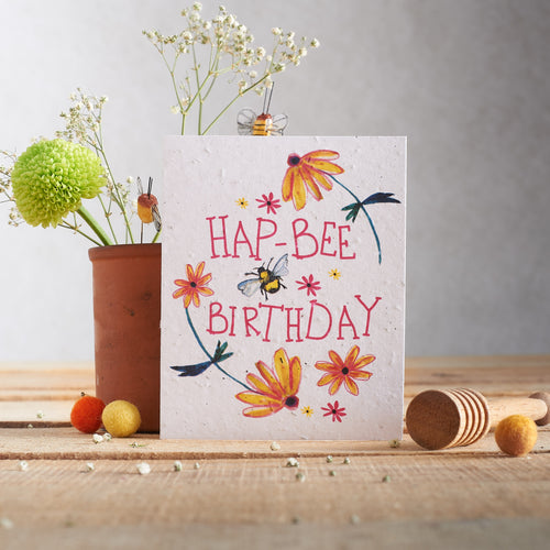 Hap-bee birthday Plantable Seed card - Greetings Cards - Altruis Living