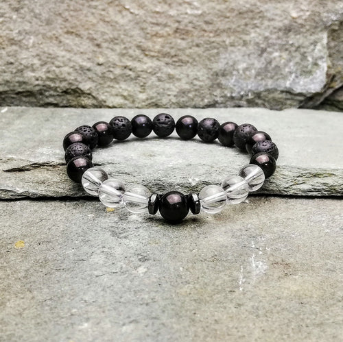 SHIELD & PROTECT Mens Small Essential Oil Diffuser Bracelet Shungite, Clear Quartz & Hemetite - Diffuser Bracelets - Altruis Living