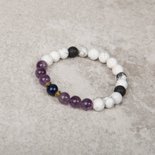Load image into Gallery viewer, SOOTHE & REBALANCE Teen Essential Oil Diffuser Bracelet Howlite, Amethyst & Lapis Lazuli - Diffuser Bracelets - Altruis Living