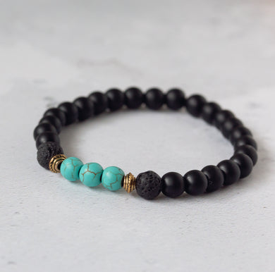 TRANQUILITY Kids Diffuser Bracelet Black Onyx & Turquoise - Diffuser Bracelets - Rituals Home