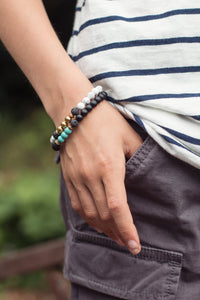 TRANQUILITY Teen Diffuser Bracelet Black Onyx & Turquoise - Diffuser Bracelets - Altruis Living