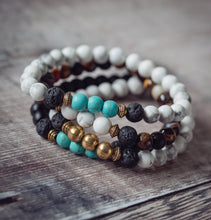 Load image into Gallery viewer, CALM Kids Essential Oil Diffuser Bracelet Howlite & Gold - Diffuser Bracelets - Altruis Living