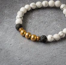 Load image into Gallery viewer, CALM Womens Essential Oil Diffuser Bracelet Howlite & Gold