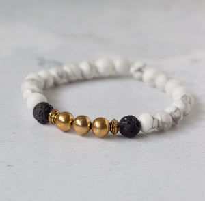 CALM Womens Essential Oil Diffuser Bracelet Howlite & Gold