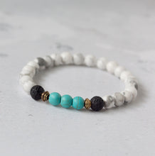 Load image into Gallery viewer, PEACE Kids Essential Oil Diffuser Bracelet Howlite & Turquoise - Diffuser Bracelets - Altruis Living