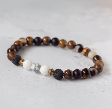 BELIEVE Kids Diffuser Bracelet Brown Agate, Tiger's Eye, Black Onyx & Howlite - Diffuser Bracelets - Rituals Home