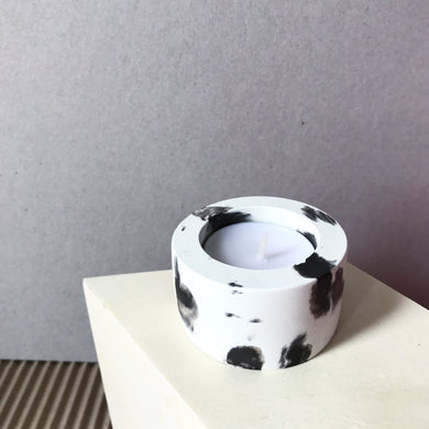 Black & White Concrete Tealight Holder Dalmation Print - Candle Holder - Rituals Home