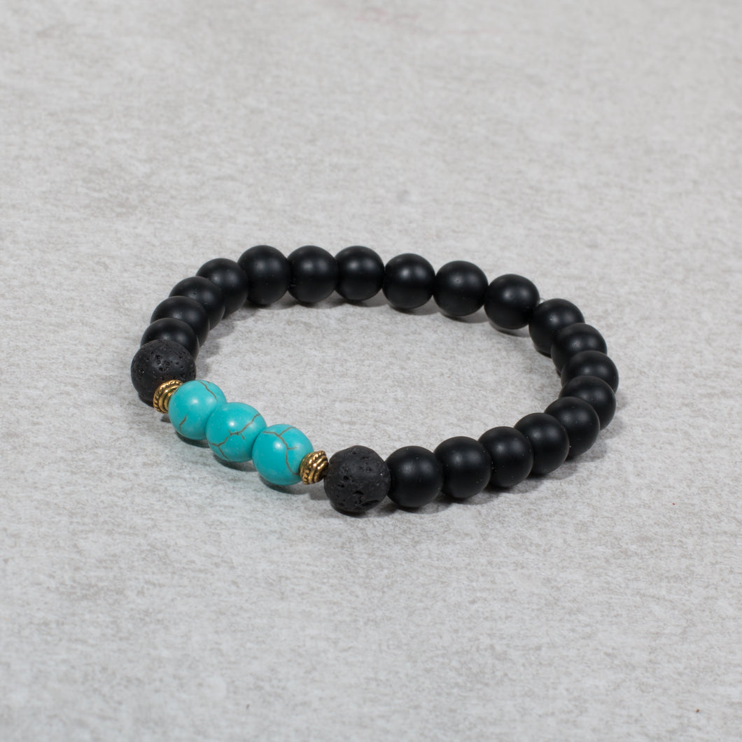 TRANQUILITY Womens Essential Oil Diffuser Bracelet Black Onyx & Turquoise - Diffuser Bracelets - Altruis Living