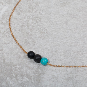 NURTURE & BLOOM Pregnancy Essential Oil Diffuser Necklace Black Onyx & Turquoise - Diffuser Necklaces - Altruis Living