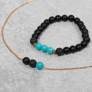 NURTURE & BLOOM Pregnancy Diffuser Necklace Black Onyx & Turquoise - Diffuser Necklaces - Altruis Living