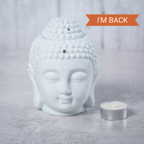 Buddha Head Ceramic Oil Burner (White) - Oil Burner - Altruis Living