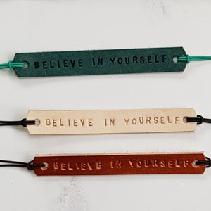 Leather Mantra Band / Essential Oil Diffuser Bracelet - Believe In Yourself (Nude) - Mantra Jewellery - Altruis Living