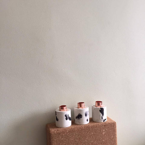 Concrete & Copper Tall Candle Holder Dalmation Print - Candle Holder - Rituals Home