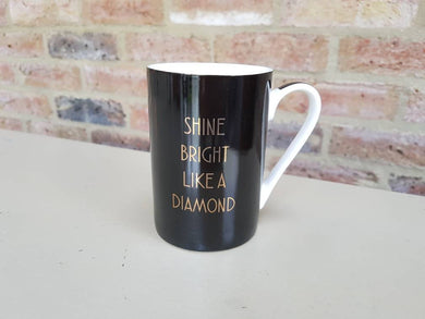 Shine Bright Like A Diamond Black & Gold Fine China Mug - Drinkware - Rituals Home