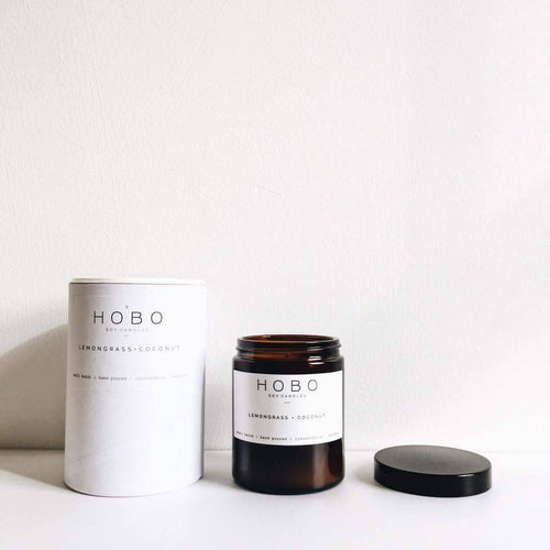 Hobo Lemongrass & Coconut Soy Candle (Brown Glass Jar) - Candles - Altruis Living