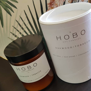 Hobo Oakwood & Tobacco Soy Candle (Brown Glass Jar) - Candles - Altruis Living