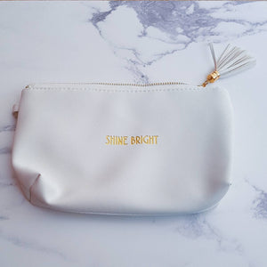 Shine Bright White Make Up Bag - Make up Bag - Altruis Living