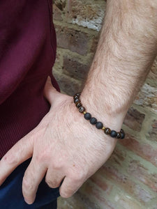 STRENGTH Small Mens Diffuser Bracelet Brown Agate, Tiger's Eye & Black Onyx - Diffuser Bracelets - Altruis Living