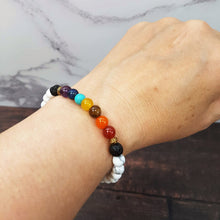 Load image into Gallery viewer, Womens 7 Chakra Essential Oil Diffuser Bracelet Howlite - Diffuser Bracelets - Altruis Living