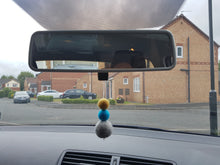 Load image into Gallery viewer, Felt Ball Aromatherapy Car Diffuser Grey, Teal & Mustard - Home & Car Diffuser / Freshner - Altruis Living