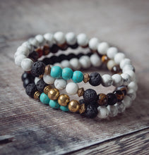 Load image into Gallery viewer, PEACE Teen Essential Oil Diffuser Bracelet Howlite & Turquoise - Diffuser Bracelets - Altruis Living