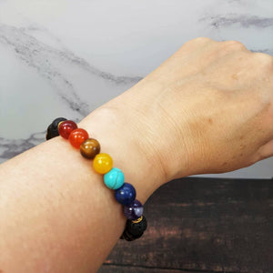 Womens 7 Chakra Essential Oil Diffuser Bracelet Tiger's Eye - Diffuser Bracelets - Altruis Living