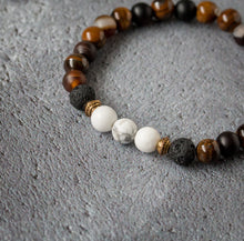 Load image into Gallery viewer, BELIEVE Teen Diffuser Bracelet Brown Agate, Tiger's Eye, Black Onyx & Howlite - Diffuser Bracelets - Altruis Living
