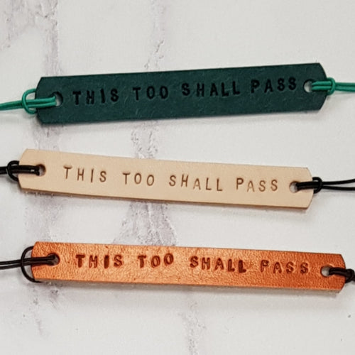 Leather Mantra Band - This Too Shall Pass (Nude) - Mantra Jewellery - Altruis Living
