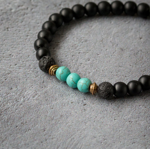 TRANQUILITY Teen Essential Oil Diffuser Bracelet Black Onyx & Turquoise - Diffuser Bracelets - Altruis Living