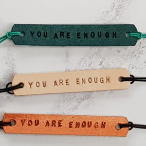Leather Mantra Band / Essential Oil Diffuser Bracelet - You Are Enough (Nude) - Mantra Jewellery - Altruis Living