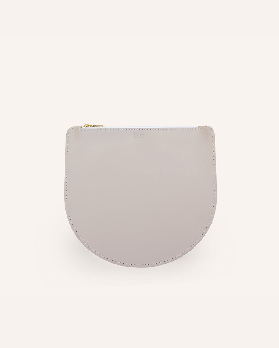Beige Portland Round Pouch in Italian Leather