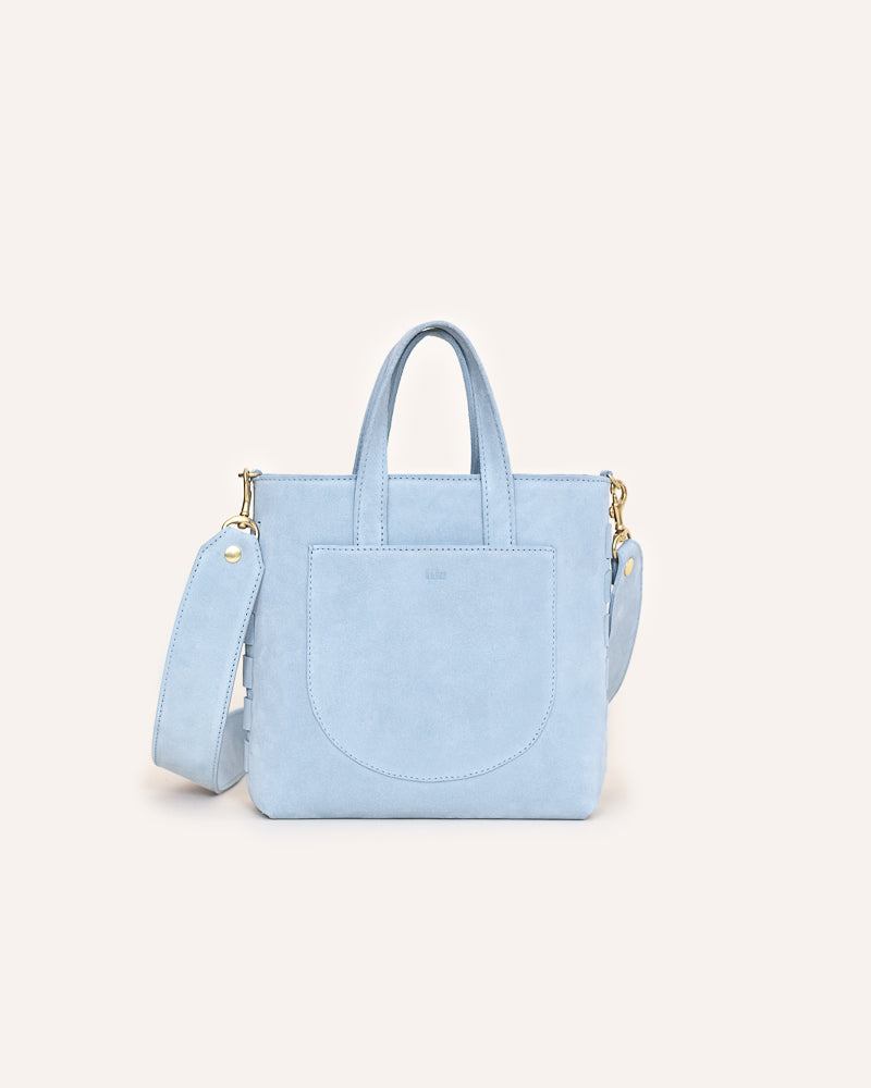 Horizon Blue Mini Tote in Italian Suede