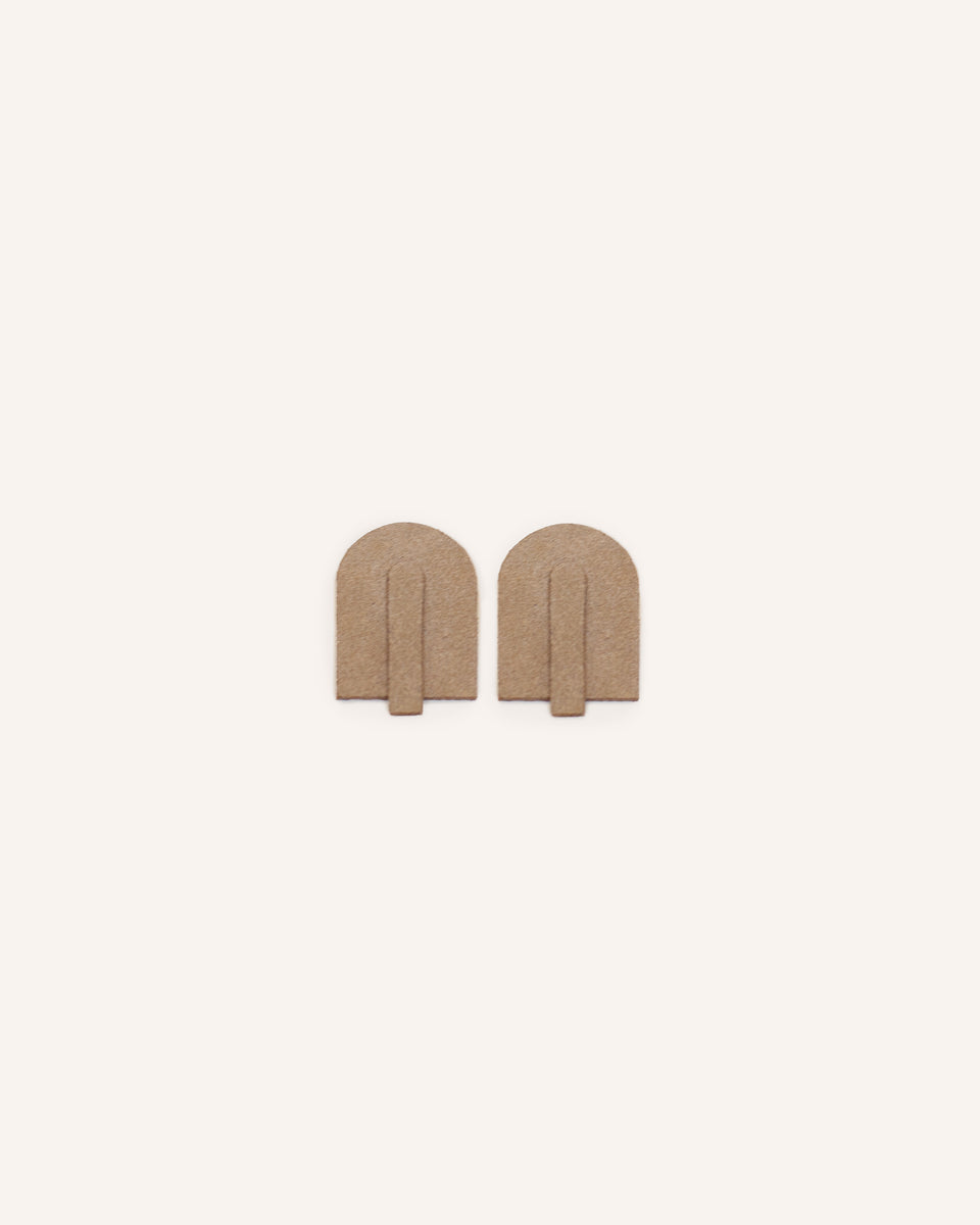 Beige Manele Earrings in Genuine Italian Suede