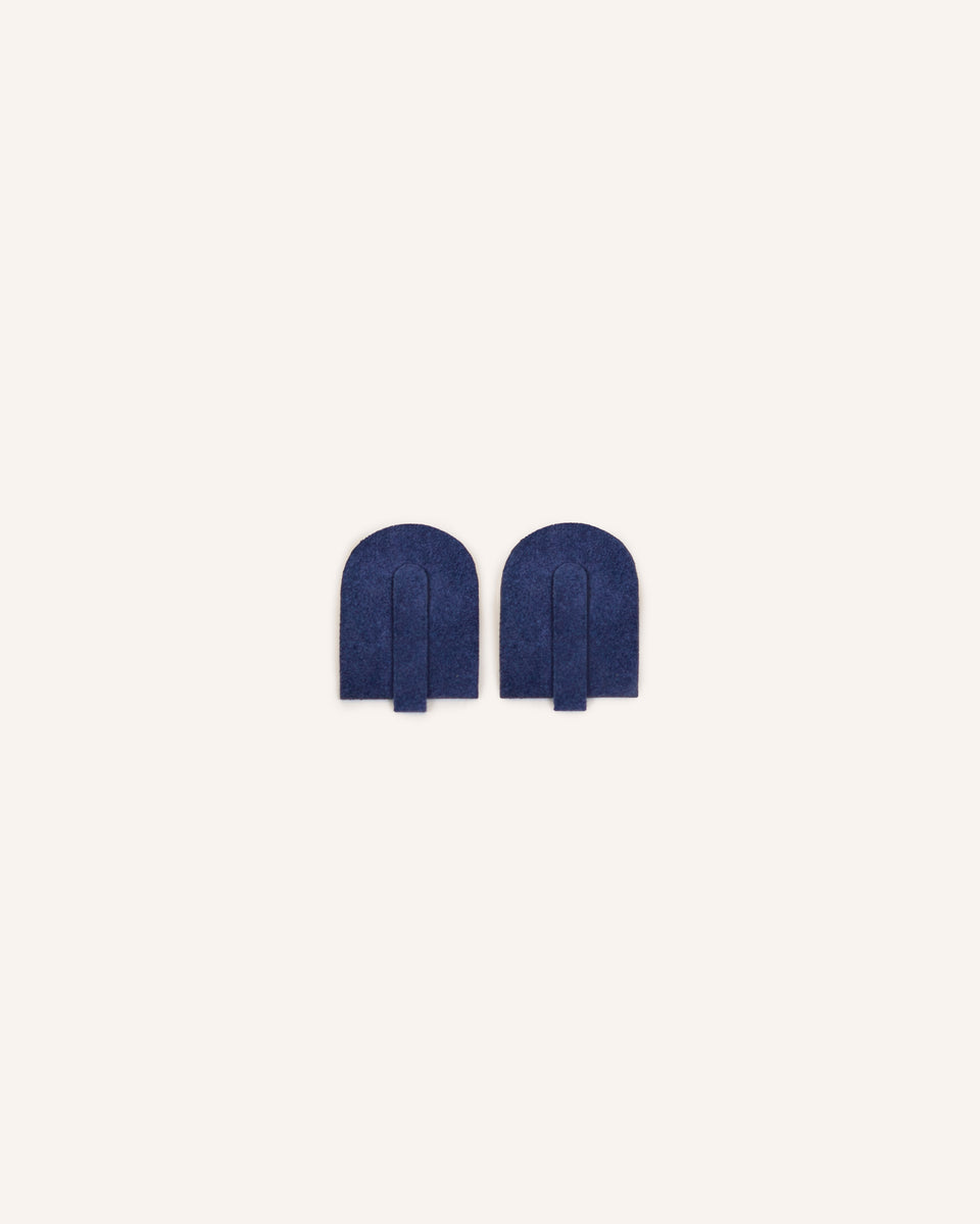 Midnight Navy Manele Earrings in Genuine Italian Suede