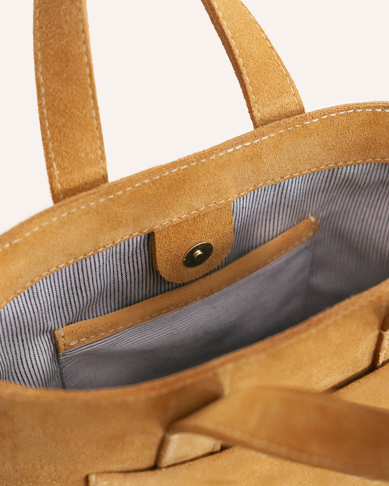 Sandcastle Mini Tote in Italian Suede with the interior lined with Organic Cotton and