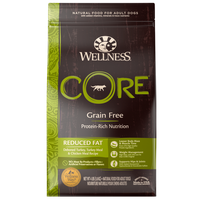 Wellness Core Natural Grain Free Reduced Fat Weight Management Turkey and Chicken Recipe Dry Dog Food
