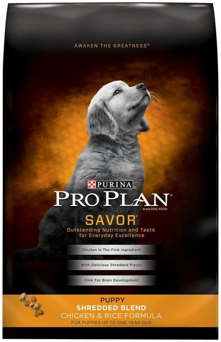 Purina Pro Plan Savor Puppy Shredded Blend Chicken and Rice Formula Dry Dog Food