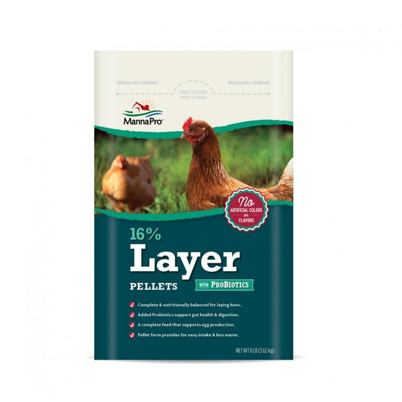 Manna Pro Adult Poultry Care 16% Layer Pellets With ProBiotics
