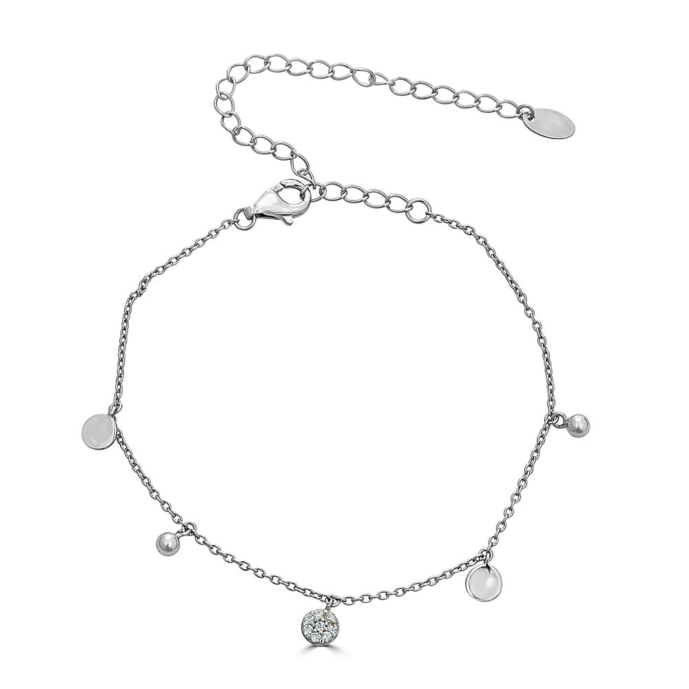 Plain and Pave disc bracelet